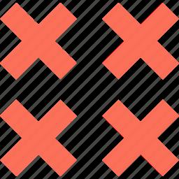 abstract, creative, delete, design, four, x icon