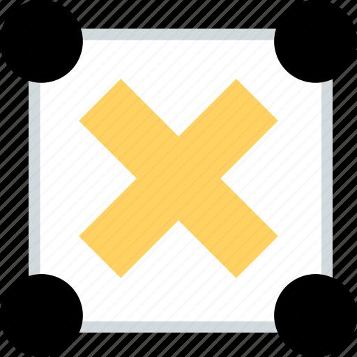 abstract, center, creative, delete, design, x icon