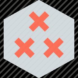 abstract, creative, design, hexagon, three, x icon