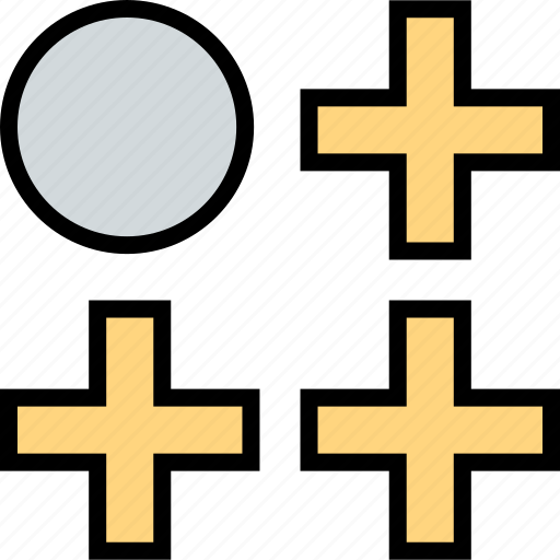 abstract, creative, dot, plus, three icon