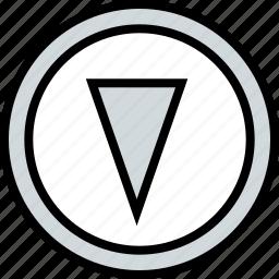abstract, cone, design, down icon
