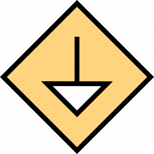 abstract, creative, down, pointer icon