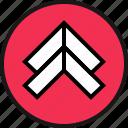 arrow, double, go icon