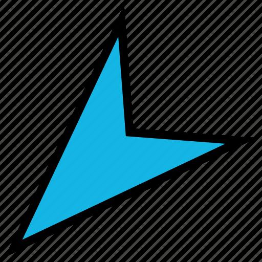 arrow, direction, down, left, pointer, sharp icon