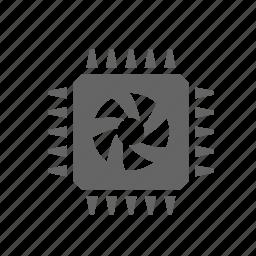 chip, cpu, device, fan, processor, technology icon