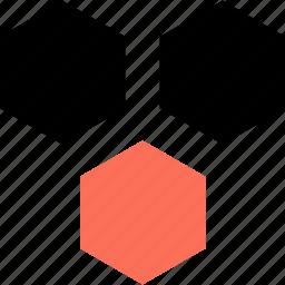 abstract, creative, design, hexagons, three icon