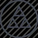 abstract, creative, design, three, triangles icon