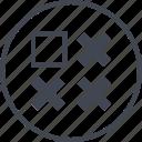 abstract, creative, design, puzzle, shape, three, x icon