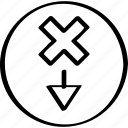abstract, creative, design, down icon