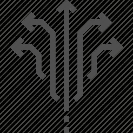 arrow, direction, multi, spread, up, ways icon