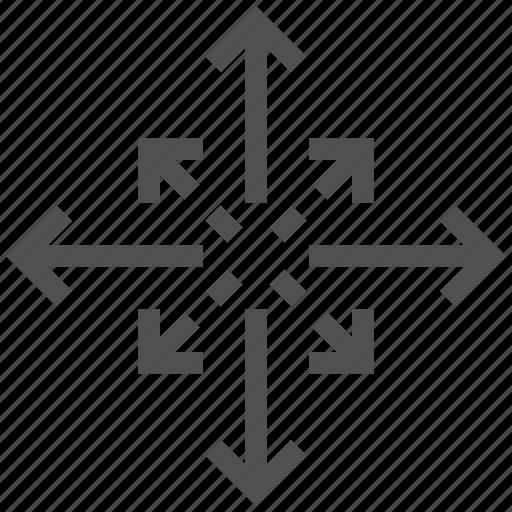arrow, boister, develop, expand, spread, way icon
