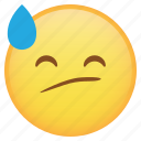 cranky, drop, emoji, emoticon, sad, smiley, sweat, weird icon