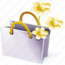 bag, memories, shopping, wildflowers icon