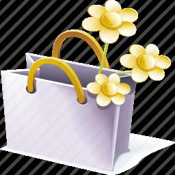 bag, memories, shopping, wildflowers icon