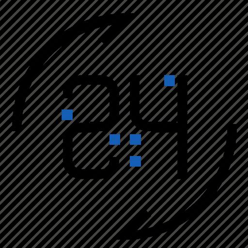 availability, hours, twenty four icon