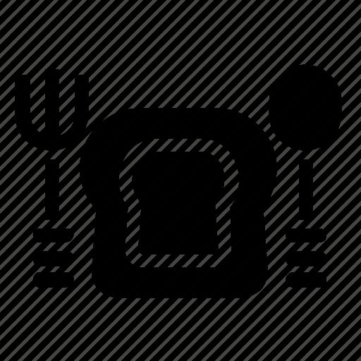 bread, fork, restaurant, spoon icon