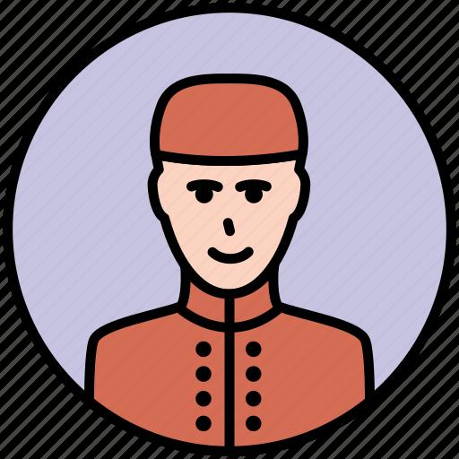 door, door man, doorman, guard, receptioner, security icon