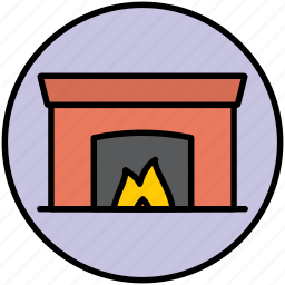 chimney, fire, fireplace, flame, home, winter icon
