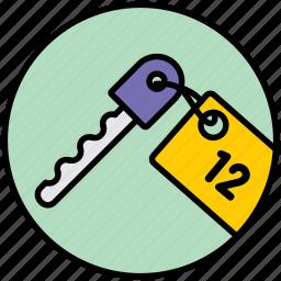apartment key, keys, room, room key icon
