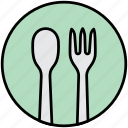 breakfast, cutlery, food, fork, lunch, spoon icon