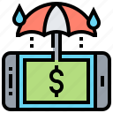 financial, protect, protection, smartphone, umbrella icon