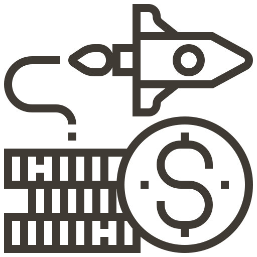 accounting, cash, currency, dollar, finance, money, rocket icon