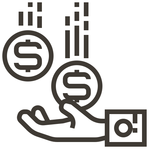 accounting, cash, currency, finance, hand, money, receive icon