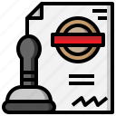 account, authorization, authorize, browser, document, password, stamp icon