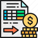 accounting, document, futures, illustration, line, money, option icon