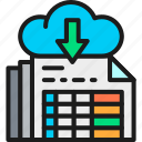 accounting, cloud, document, download, line, outline, storage icon