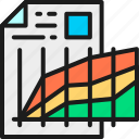accounting, document, graph, illustration, line, outline, progress icon