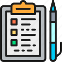 accounting, document, folder, line, outline, pen, tablet icon