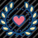 badge, heart, heart laurel icon, laurel, logo, love, romantic icon