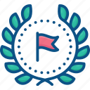 award, badge, flag, garland, laurel, logo, winner, wreath icon icon