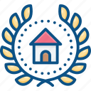 achievement, badge, house, logo, wreath icon icon