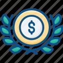 badge, currency, dollar, laurel, lauren, logo, money icon icon