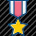 achievement, award, medal, reward, ribbon, star icon icon