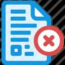 delete, document icon