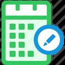 calendar, edit icon