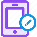 edit, mobile icon