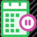 calendar, pause, sync icon