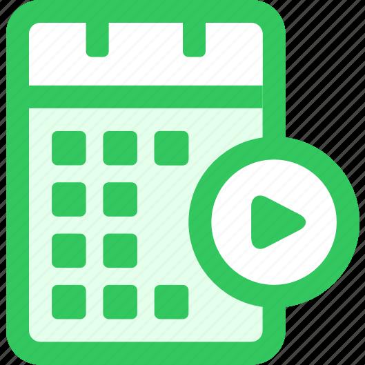 calendar, continue, sync icon