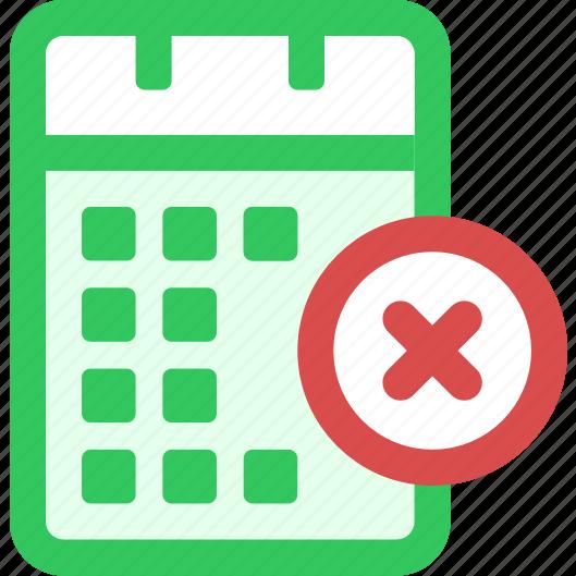 calendar, delete icon