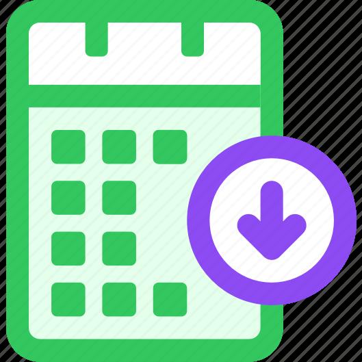 calendar, download icon