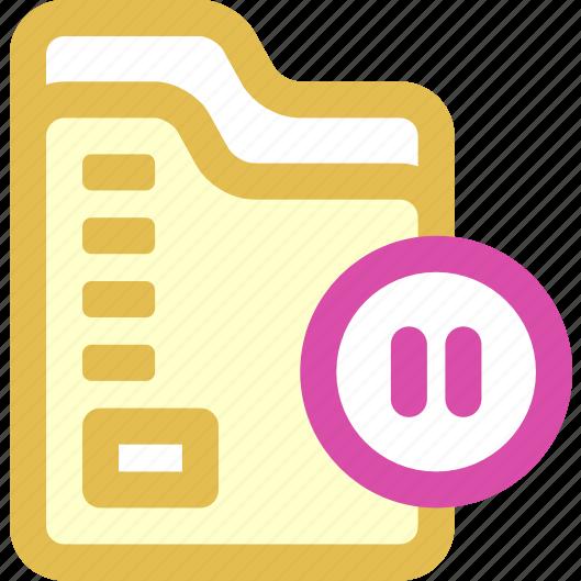 folder, pause, sync icon