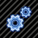 edit tool bar, gear, notification, settings