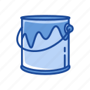 blue paint, bucket, color, paint bucket tool icon