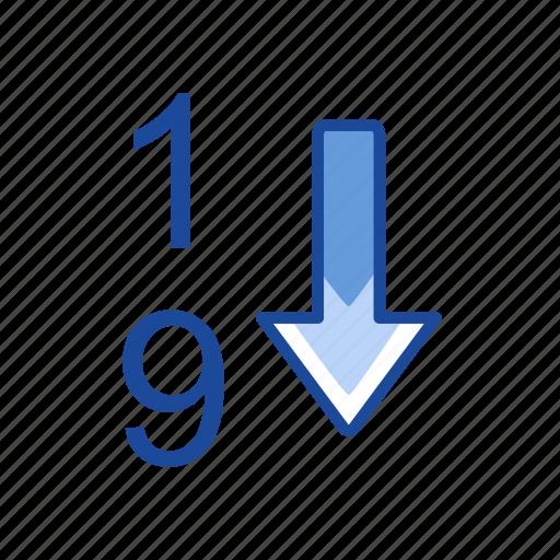 arrow down, descending, download, number icon