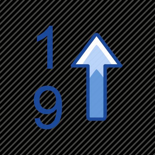 arrow up, ascending, number, upload icon