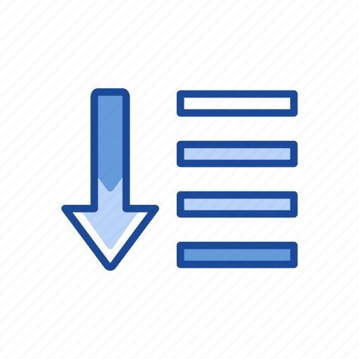 arrow down, download, notes, text icon
